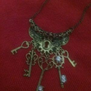 Rustic Key Lock Necklace